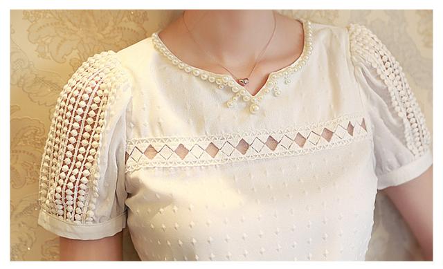 Brand new summer 2017 Lady Women Lace Short Sleeve Shirt V Neck Doll Chiffon Blouse Tops white #20