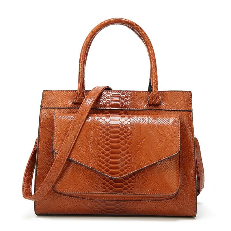 Märke Kvinnor Läderväskor Mode Snake Skin Väskor Högkvalitativa - Handväskor