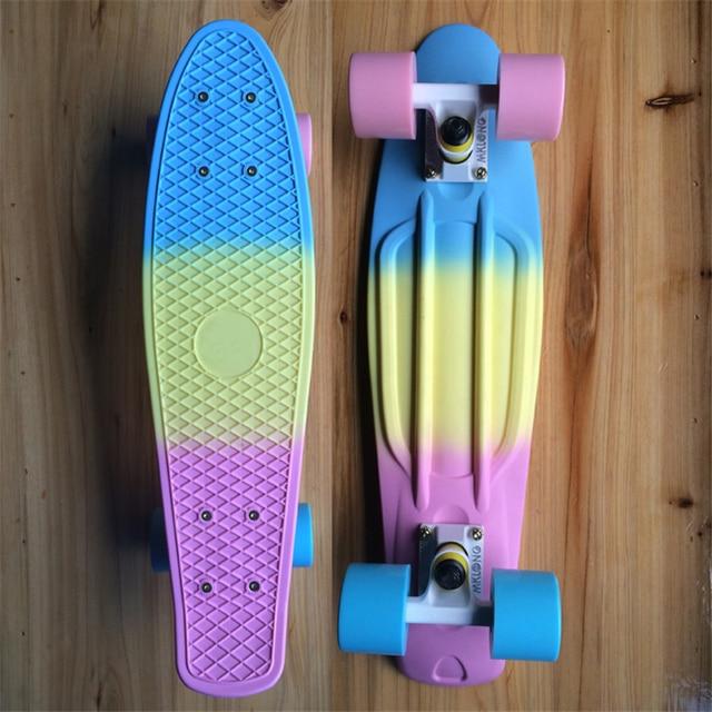 US $49 87 5% OFF MAIKALONG Fade Pastel Plastic Skateboard Mini Cruiser  Complete 22