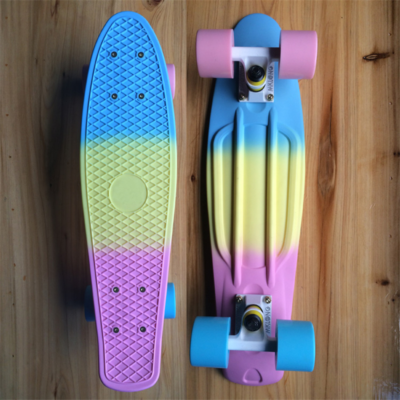 MAIKALONG Fade Pastel Plastic Skateboard Mini Cruiser Complete 22 x 6 Longboard Boy Girl Retro Skate Board