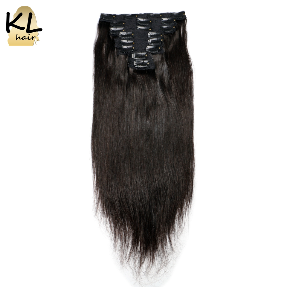 KL Straight Clip In Human Hair Extensions Natural Black Brazilian Remy Hair Clip-ins With Lace Weft 120G 8Pcs/Set Fast Shipping
