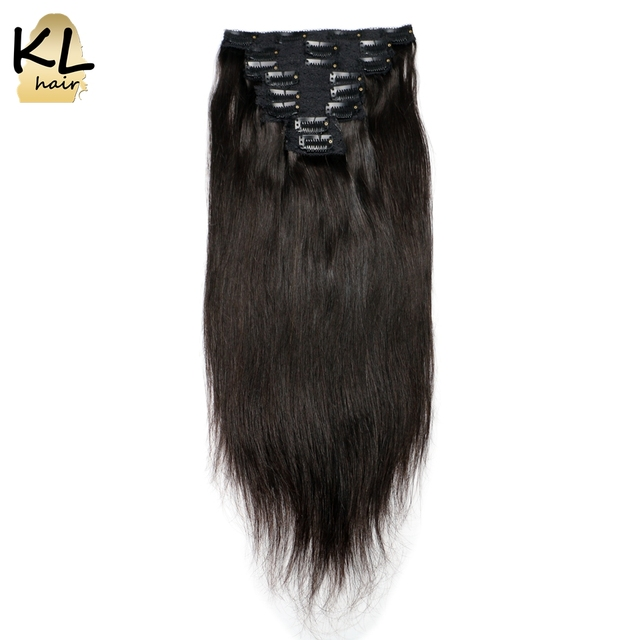 KL Hair Brazilian Straight Hair Clip in Human Hair Extensions Natural Color Remy Hair Clip-ins 120G 8Pcs/Set Free Shipping