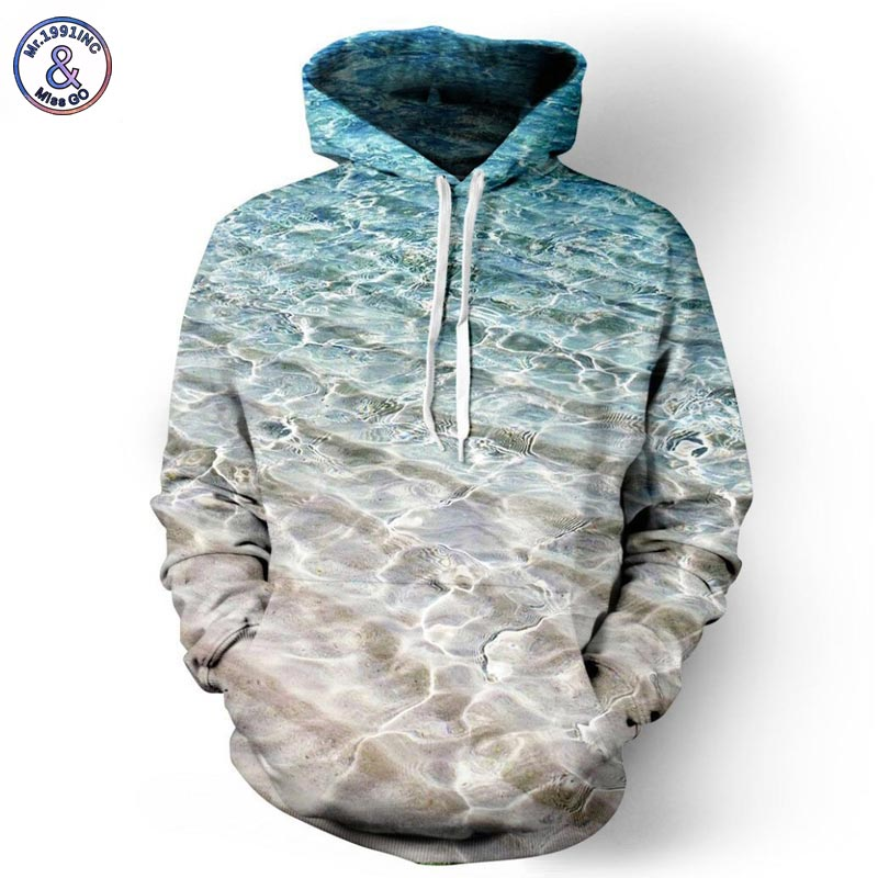 Mr 1991INC Men Women Hoodies Hooded Jacket 3d Print Sea Beach Men Sweatshirt Long Sleeve Cap