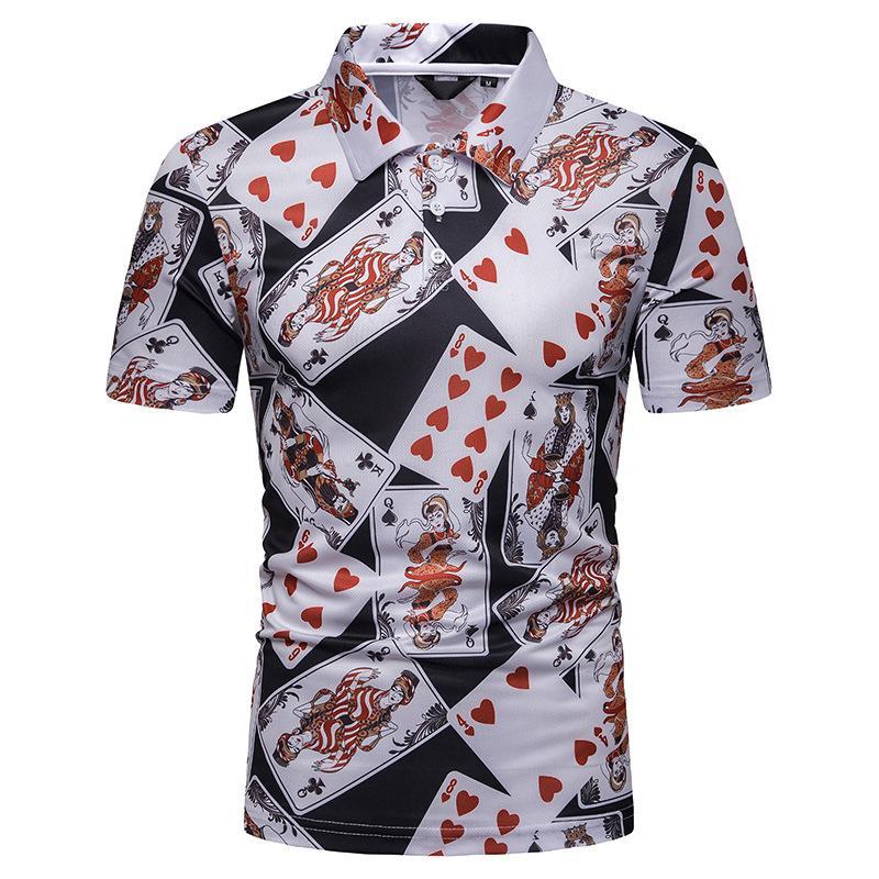 Hip hop   Polo   Shirt Men Summer Tops Playing card print Men   Polo   Shirt Hawaiian Short sleeves Men's Clothing