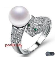 Hot selling free shipping********charming pair of roundAAA 10 11mm south sea white pearl ring size 7 10