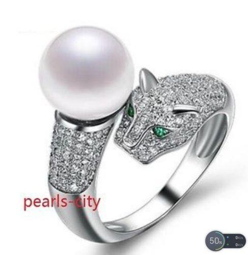 Vendita caldo di trasporto libero ******** affascinante coppia di roundAAA 10 11mm south sea white pearl ring size 7 10