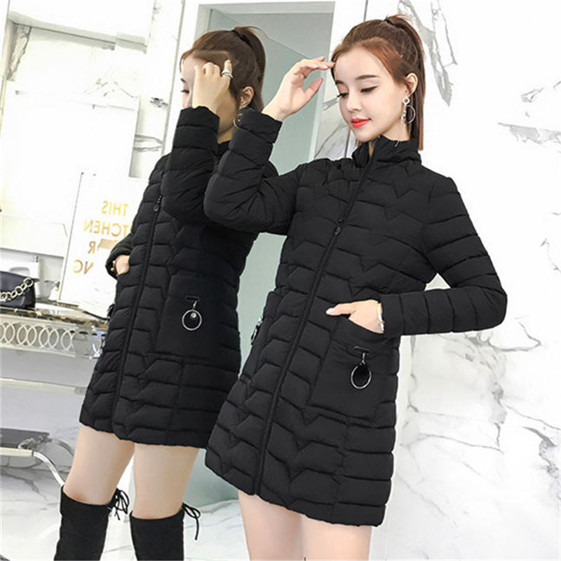 2019 NEW Fashion Winter Large Size 4XL Cotton Coat Women Long Down Jacket Korean Hooded Winter Parkas Jacket X235