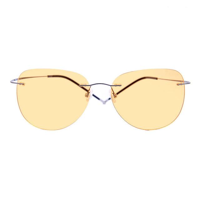 2016 clássico marca designer homens óculos de visão noturna óculos de sol dia e noite motorista espelho óculos de sol sem aro titanium óculos de sol das mulheres