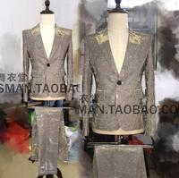 2018 серебряный градиент блестящий костюм DJ Мужская мода певица сценические костюмы из двух предметов костюмы