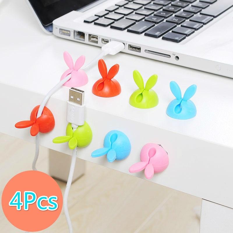 4Pcs/Lot Cute Rabbit Shaped Winder Wrap Cord Cable Storage Wire Clip Organizer Desk Accessories Office Desk Set Supplies