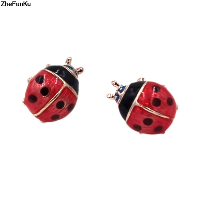 171c422bd Cute small ladybug earrings brincos for women girl stud earrings fashion  jewelry pendientes mujer moda marca famosas