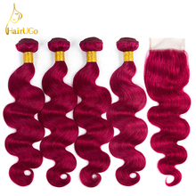 airUGo font b Hair b font Pre colored Peruvian Body Wave Bundles font b Hair b