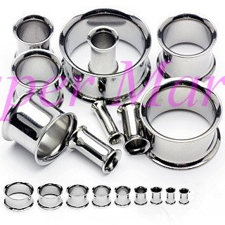 Silver DOUBLE FLARE Black PLUGS Screw FLESH TUNNEL Body Piercing Jewelry Ear Piercing Expander 316L stainless