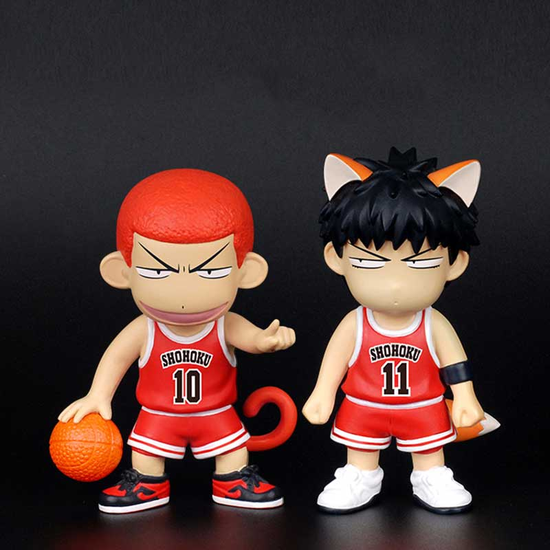 Japan Anime Slam Dunk Hanamichi Sakuragi Rukawa Kaede Q Version PVC Action Figure Model Toy With Box Collection Toys gift huong anime slam dunk 24cm number 11 rukawa kaede pvc action figure collectible toy model brinquedos christmas gift
