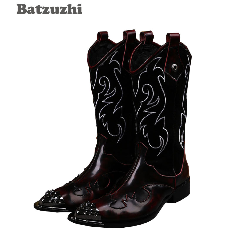 Batzuzhi 2018 Winter Rock Man's Boots Long High-top Shoes Embroidered Flowers Retro Casual Man Boots Leather Motocycle Boots!