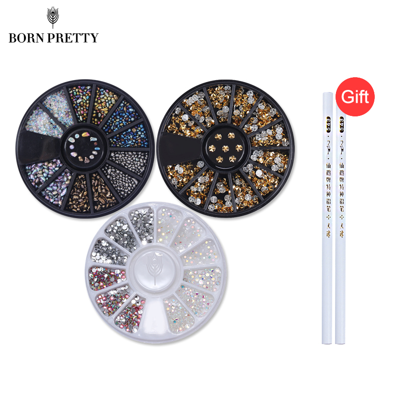 Buy 3 Get 1 Gift 3 Boxes Nail Decorations with 2pcs Rhinestone Picker Pen Set Manicure 3D Nail Art Decorations in Wheel gold silver 3d nail decorations rivets metal multi studs rhinestone chain flower heart diy manicure nail art decoration