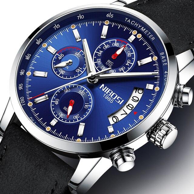 c08f6659d75 NIBOSI Relógio Do Esporte dos homens Assistir À Prova D  Água Azul  Analógico Quartz Militar