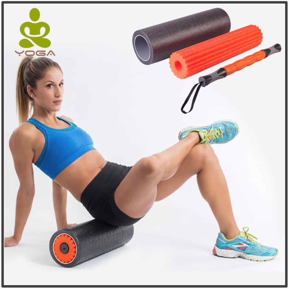3 In I PE Yoga Foam Roller Set Relieving Fitness Pilates Foam Yoga Roller for Muscle Massage Gym Exercise Physiotherapy elite fitness massager roller stick trigger point muscle roller exercise therapy releasing tight body massage tool gym rolling