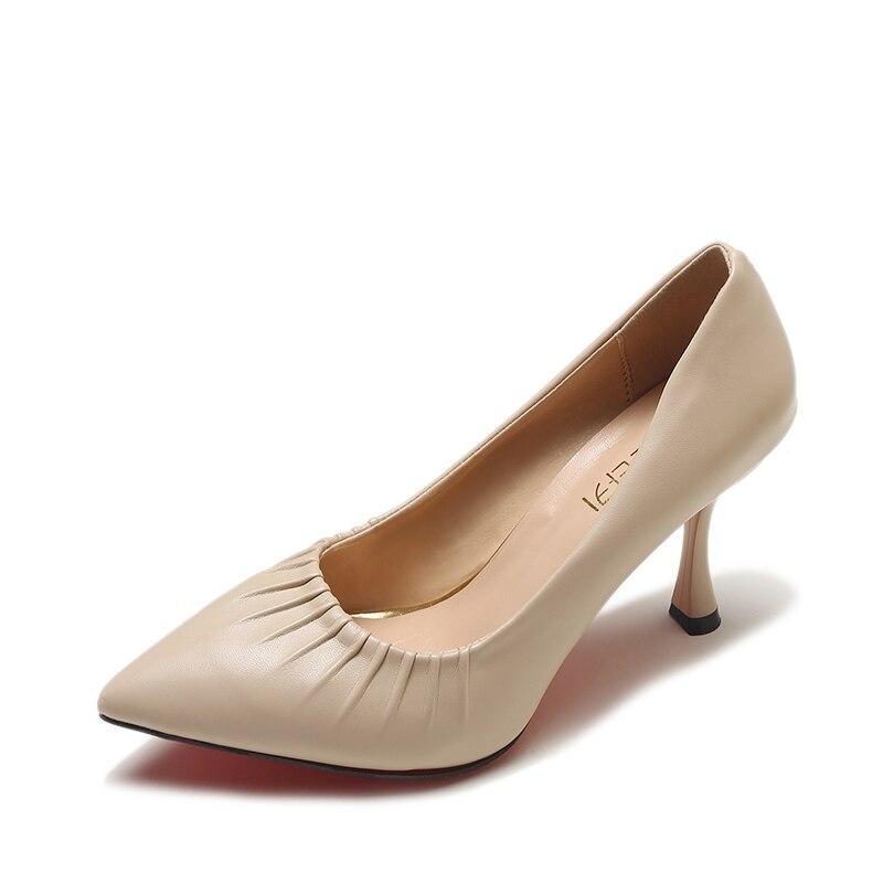f641e7829c Bombas Sapatos Plissado Cores Senhora Cm Pu Couro 40 5 Rasos De Mulher  Sapato Salto Qualidade Tamanho Mulheres preto on Red Slip ...