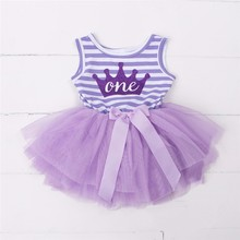 1-3Y Kid Girls Princess Baby Dress Toddler Infant Girl Clothes Purple Floral Crown Print Tutu Ball Gown Birthday Party Dresses