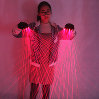 2 in 1 Multi line Red Laser Gloves With 4pcs 650nm 100mw Laser,Disco LED laser Gloves For LED luminous Costumes Show