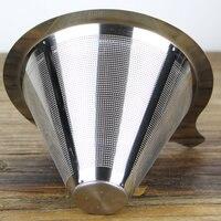 Feic 1 шт. двойной Слои Нержавеющая сталь капельный кофе фильтр многоразовые нет бумажный фильтр для Hario V60 Chemex