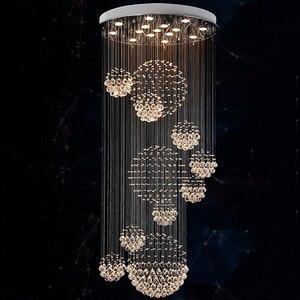 Image 1 - Yeni modern öğe Dia800 * H3000MM büyük modern otel avize kristal merdiven ışık