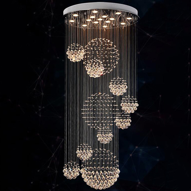 new modern item Dia800*H3000MM large modern hotel chandelier crystal staircase light