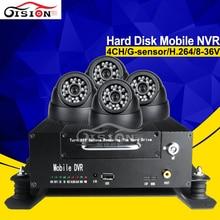 4 шт. 24LED indoor Камера + 720 P жесткий диск Автомобильный видеорегистратор 4ch HI3515 программы автомобиль мобильный NVR Наборы Бесплатная доставка