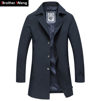2019 Autumn New Brand Clothes Men's Casual Thin Trench Coat Business Fashion Solid Color Suit Collar Medium and Long Jacket Coat