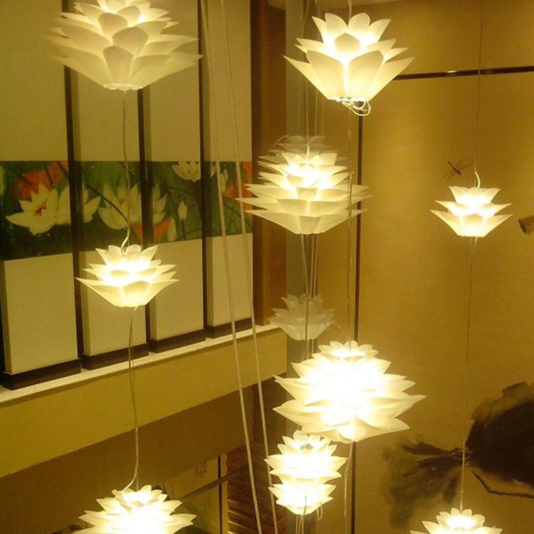 Nordic PVC Lotus Pendant Lights for Living Room Restaurant Color Decoration Hanging Pendant Lamp Bedroom Lighting Fixtures in Pendant Lights from Lights Lighting