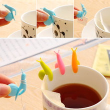Cooking Tools Small Snail Silicone Tea Bag Holder Cup Mug Hanging Tool Tea Tools Candy Colors Tea Clips Teaware 1pcs/5pcs/10pcs(China)
