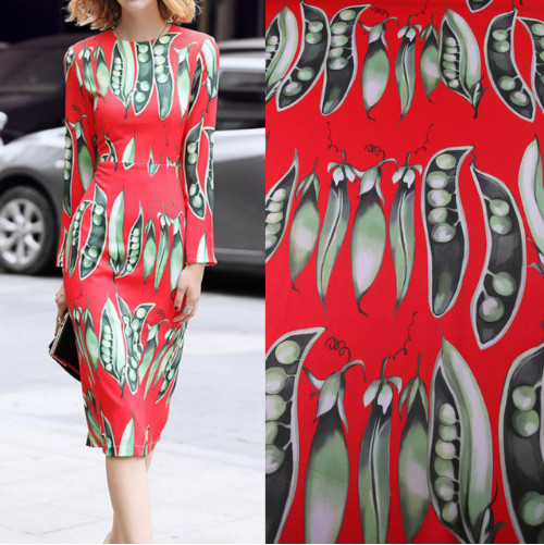 Romantic Theme Fresh Witty Collection with Pea Print Multicolor Polyester Fabric for Woman Summer Cady Sheath Dress Sewing-AF313