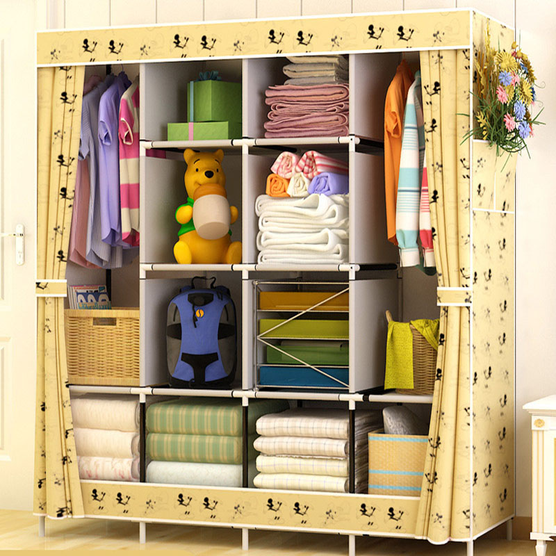Modern Simple Wardrobe Household Fabric Folding Cloth Ward Storage Assembly King Size Reinforcement Combination Simple Wardrobe simple fashion moistureproof sealing thick oxford fabric cloth wardrobe rustproof steel pipe closet 133d