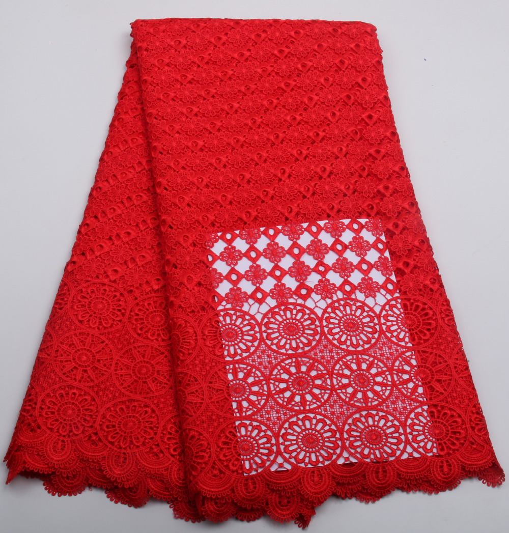 Hot sale red lace fabric cotton tissu guipure lace fabric high quality for sewing african cord