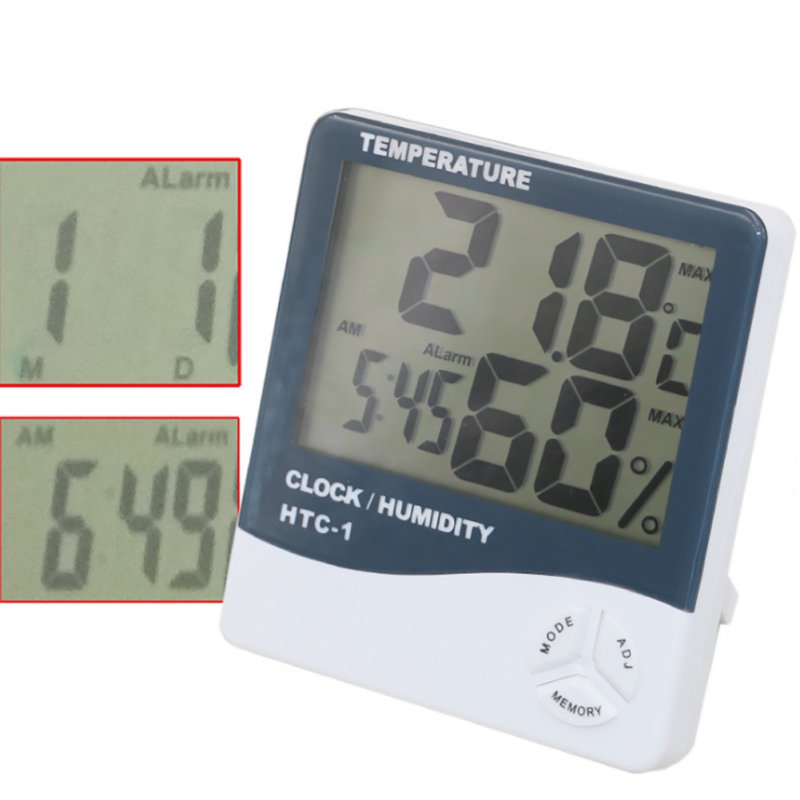 HTC-1 High accuracy LCD Digital Thermometer Hygrometer Indoor Electronic Temperature Humidity Meter Clock Weather Station htc 2 electronic digital indoor outdoor thermometer hygrometer