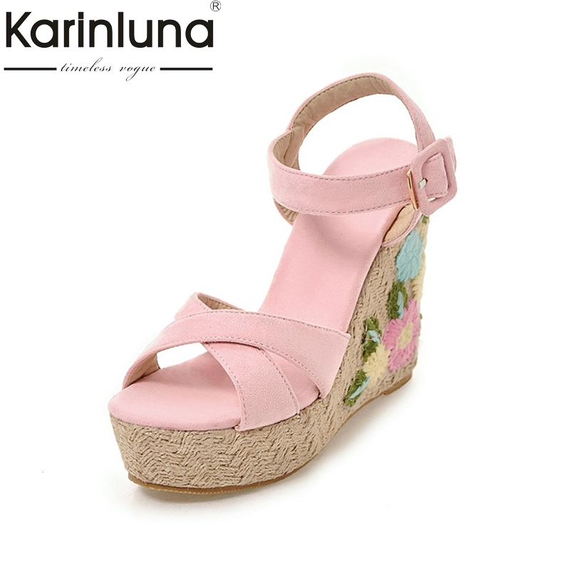 KARINLUNA hot sale chinese style Embroidery platform women sandals fashion ankle strap wedges high heels party wedding shoes  karinluna popular women sandals ankle strap buckle small bowtie crystal bordered wedges open toe platform party shoes for women