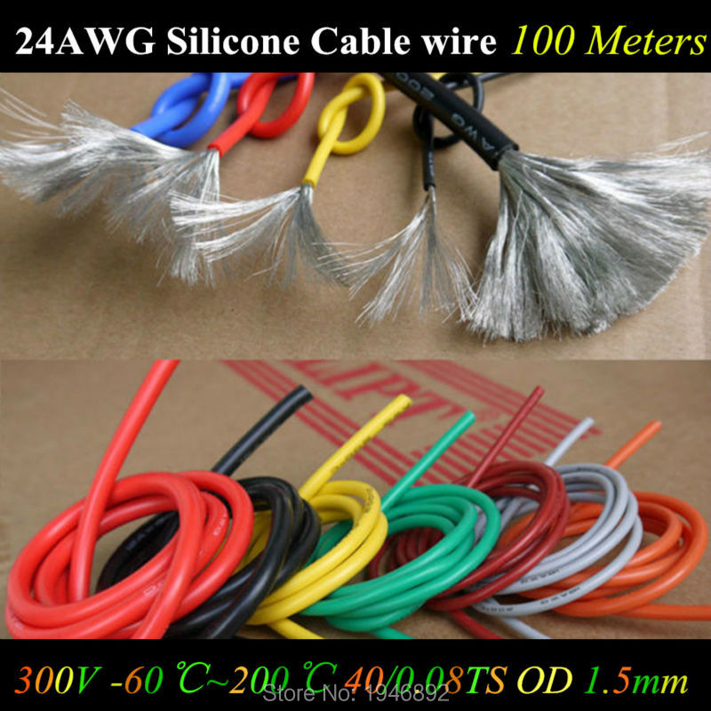 <font><b>100M</b></font> 24 AWG Flexible Silicone Wire RC Cable <font><b>24AWG</b></font> 40/0.08TS OD 1.6mm Tinned Copper Wire With 10 Colors Select Test Line Cable image