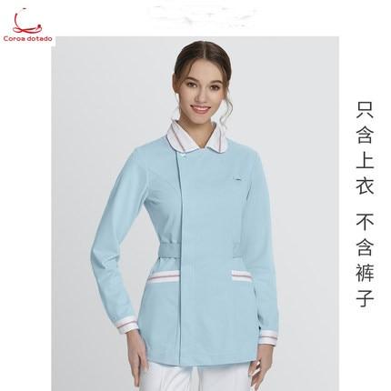 Nurse Wear Long Sleeve Hospital Beauty Salon Work Clothes Female Blue Slim Nurse Wear Autumn And Winter Coat