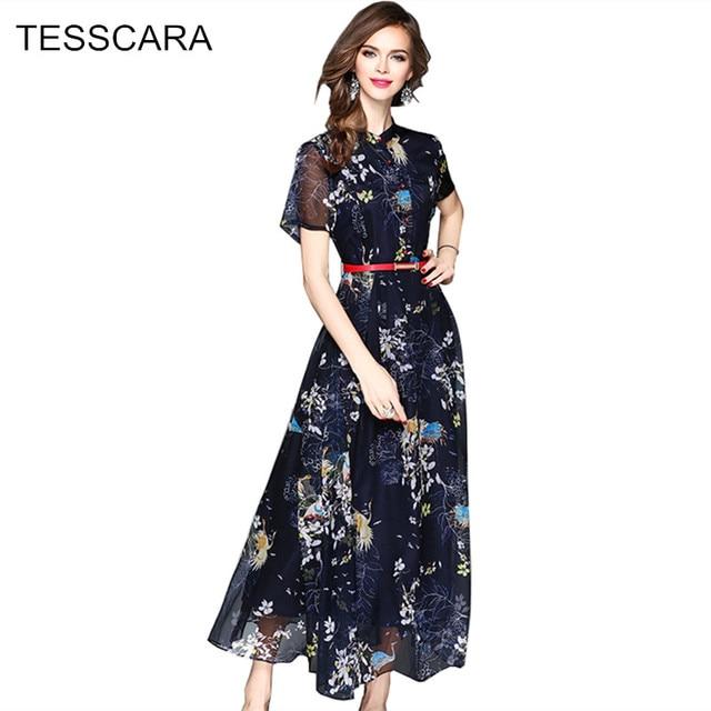 Для женщин летние элегантные длинные макси платье рубашка Женская мода печати шифон Vestidos ретро роковой bodycon Костюмы Сарафан
