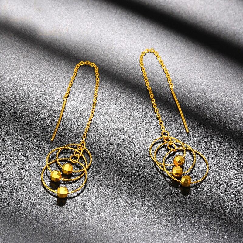 Новый чистый 24 к серьги из желтого золота Дамская 999 Золото длинный круг длинные висячие серьги