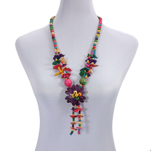 Wholesale Flower Pendant Coconut Shell Necklace Multicolor Wood Beads Strand Handmade Knitted Women Bohemian Jewelry