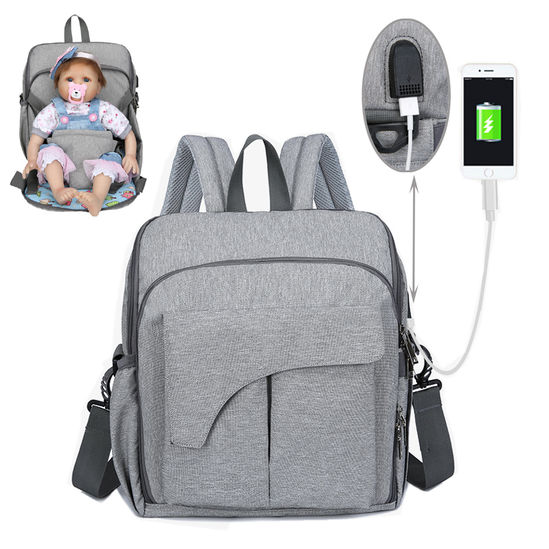 2019 Diaper Bag USB Nappy Bag Waterproof Maternity Travel Backpack Designer Baby Care Stroller Handbag Baby Seat Nursing Bag New
