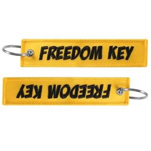 Image 4 - Motocykl brelok do kluczyków samochodowych wolność brelok do klucza haft żółty breloczek brelok OEM brelok na prezenty w lotniczym stylu biżuteria llavero