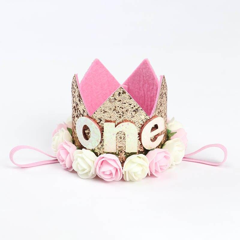 1 шт счастливые шляпы для вечеринки по случаю Дня рождения декоративная крышка один день рождения шляпа Принцесса Корона 1-й 2-й 3-й год номер детские аксессуары для волос - Цвет: E
