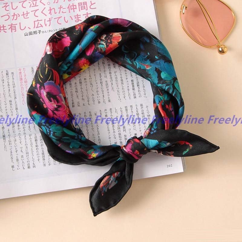 Floral Print 100% Silk   Scarf   Neckerchief Bandana Small Square Silk   Scarf   Female Luxury Silk   Scarves     Wraps   Foulard Hand Rolled