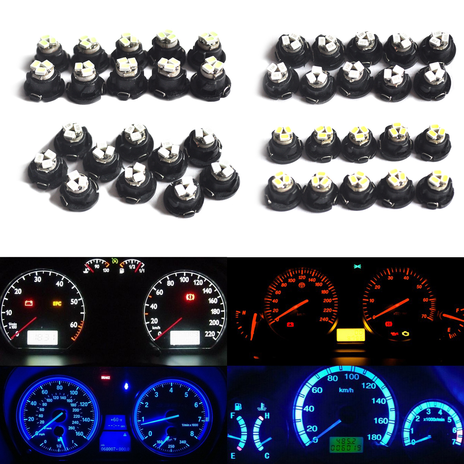 10PCS T4.7/T5 LED Wedge Switch Radio Climate Control Bulb Instrument Dashboard Dash Indicator Light Bulb Ac Panel Bulb 5pcs lot led indicator light lamp pilot dash direction bulb dashboard panel instrument light car truck boat 5 color