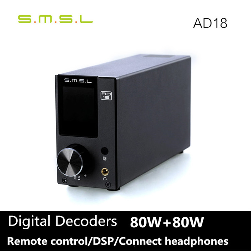 2017 Newest SMSL AD18 80W*2 DSP HIFI Bluetooth Pure Digital Audio Amplifier Optical/Coaxial USB DAC Decoder With Remote Control цена 2017