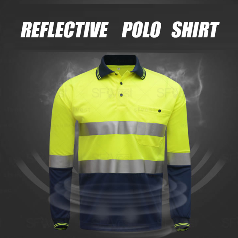 High visibility safety work polo t-shirt two tone working shirt long sleeves with heated bright silver reflective straps red lace details basic long sleeves t shirt