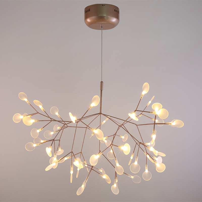 Creative Art Deco Tree Branch LED Pendant Light AC100-240V Glowworm Pendant Lamp Iron Acrylic Firefly Droplight Decoration Lamp